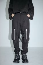 Hip hop Punk Side zipper three-dimensional pocket pants