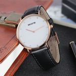 Couple Business Black Brown Leather Analog Watch