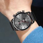 Black Casual Mesh Belt Fashion Quartz Gold Watch
