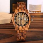 Full Bangle Clock Unique Auto-Date Timepieces Wood Wristwatch