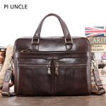 Genuine Leather Briefcase Laptop Computer Handbag
