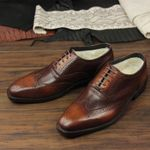 Business Brogue Carved Brown Leather Sole Leather Shoes