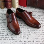 Monk Handmade Color Cowhide Business Shoes