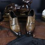 Monk Buckle Monk Handmade Color Shoes