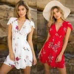 Casual Party Cocktail Short Sleeve Floral Dress