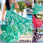 Maxi Boho Floral Print Holiday Beach Sundress