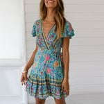 Polyester Boho Floral Party Beach dresses