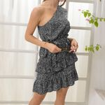 Short Sleeve Cold Shoulder Dot Print Ruffles Dress