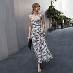 Sexy Sleeveless Floral Print Sashes Dress