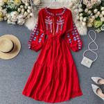 Boho Chic High Waist Embroidery Dress