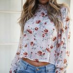 Boho Floral Long Sleeve Crew Neck Stretchy T-Shirt