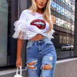 Lip Mouth Print Tee Mesh Patchwork White T Shirt