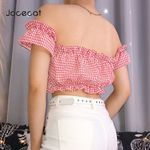 Pink Plaid Boho Style Cropped Feminino T Shirt