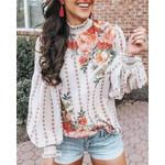 Boho Style Floral Print Blouse Shirt