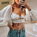 Sexy White Chiffon Blouses Hollow Out Cropped Tops