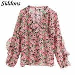 Boho Floral Print Ruffles Blouse Shirt