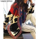 cotton embroidery shawl lapel print floral bohemian sweater