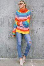 Rainbow Knitted Sweater Stripe Turtleneck Pullovers
