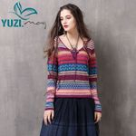 Boho New Cotton Wool Pullover V-Neck Long Sleeve Sweater
