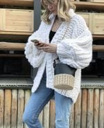 Open Stitch Loose Knitted Cardigans Lantern Sleeve Sweater