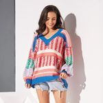 Red Boho Casual Sweet Simple Plus Size Sweaters