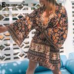 Everkaki Boho Floral Print Kimono Coats