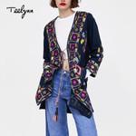long boho ethnic embroidery long sleeve jacket