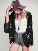Boho Cover Up Batwing Sleeve Embroidered Kimono Jacket