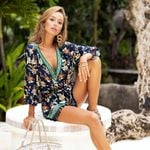Cotton Floral Print Romper Beach wear V Neck