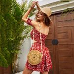 casual jumpsuit romper lace up floral print red