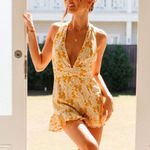 Sexy Deep V Neck Yellow Floral Pint Spaghetti Rompers