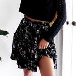 Melegant Black Floral Print Skirts