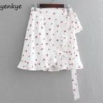 Cherry Print High Waist Ruffle Wrap-Style Beach Boho Skirt
