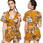 sexy fashion boho short sleeves floral print casual shorts