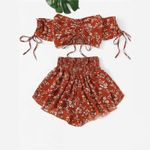 Off Shoulder Floral Print Top Wide Leg Shorts