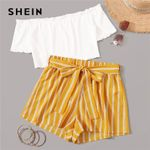 Rib-Knit Crop Top and Self Belted Striped Shorts