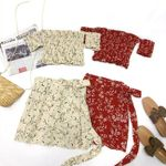 Set Sexy Off Shoulder Crop Tops Lace Up Mini Skirts
