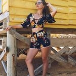Floral Print CropTop And High Waist Chiffon Shorts