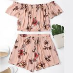 Set Off Shoulder Slash Neck Cinched Floral Short Sleeves Crop Top