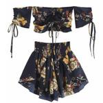 Off Shoulder Cinched Floral Set Slash Neck Short Sleeves Crop Top