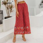 Boho vintage print long Bohemian wide leg loose pants