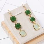 Green Long Earrings Accessories Gem Gold Big