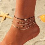 Set Ankle Bracelet Chains Gold Heart Love Charms