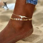 Bohemian Eagle Sequins Anklets Fashion Gold Color Bracelet