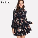 Floral Elegant Long Sleeve High Waist A Line Chic Dress