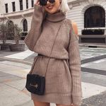 Knitting Sweater Turtleneck Sexy Off Shoulder Dress