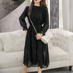 Black Vintage Clothes Lady Long Chiffon Dress