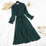 Casual Flare Sleeve Office Chiffon Dot Print Dresses