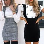 Ruffle Pinafore High Waist Bodycon Party Mini Dress