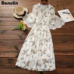 Floral Print Long Chiffon Dress